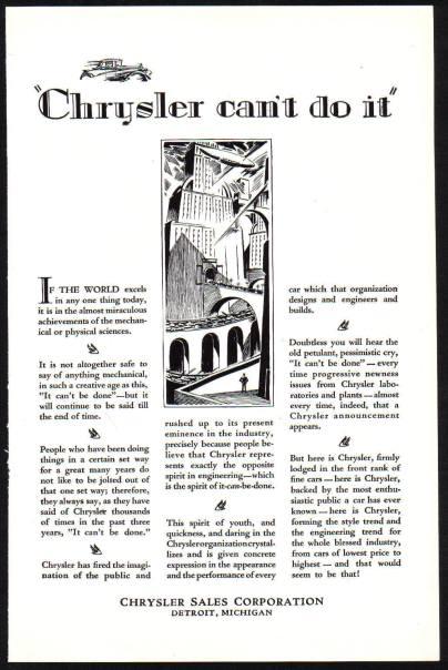 Chrysler Car advert c1928