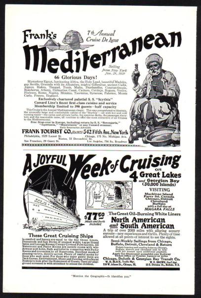 Mediterranean Cruise advert c1928