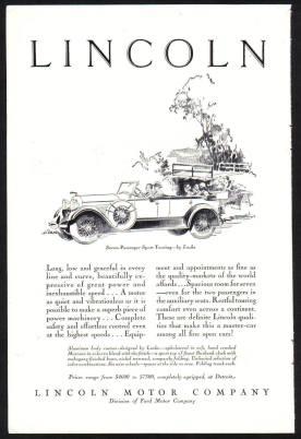 Lincoln Motor Company advert c1928