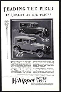 Whippet Cars (Fours & Sixes) advert c1928