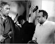 Michalis Cacoyannis (right) and Anthony Quinn