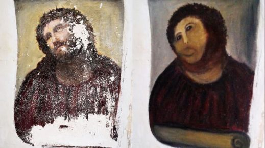 The botched up Christ painting restoration that sold for $1,421 on eBay