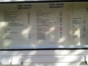 Twin Arches menu