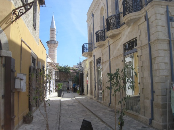 Cobbled street & Turkish minaret