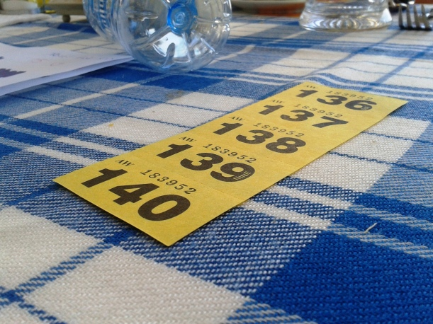 A very unlucky raffle ticket - not a single prize was won.