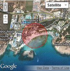 Nissi beach on Google maps