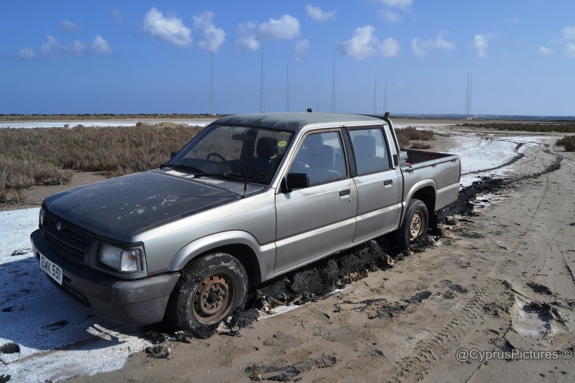 """Trucky"" stucky in the salt lake at Akrotiri, Cyprus"