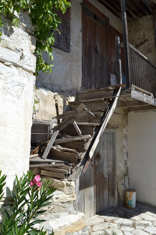 Wooden staircase, village house, Vouni village, Cyprus